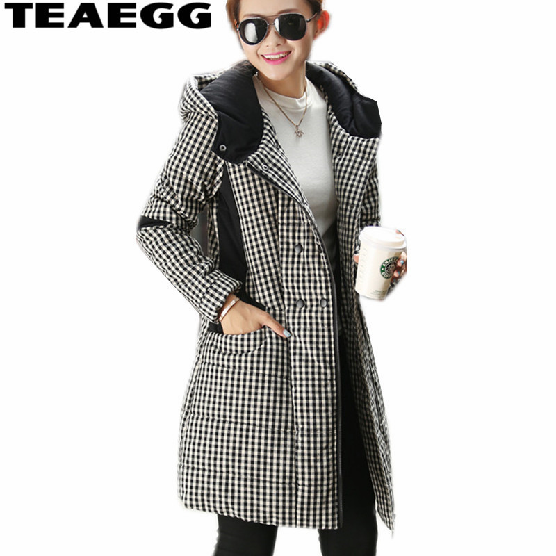 TEAEGG Black Plaid Winter Women Jacket 2017 Parka Women's Jacket Warm Casaco Feminino Inverno Jackets Coat Plus Size 4XL AL401 womens winter jackets and coats winter jacket women coat manteau femme thickened long casaco feminino inverno abrigos 001