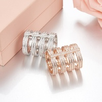 Luxury Elegant 925 Sterling Silver Inlaid Micro Insert CZ Cubic Zircon Ring For Women