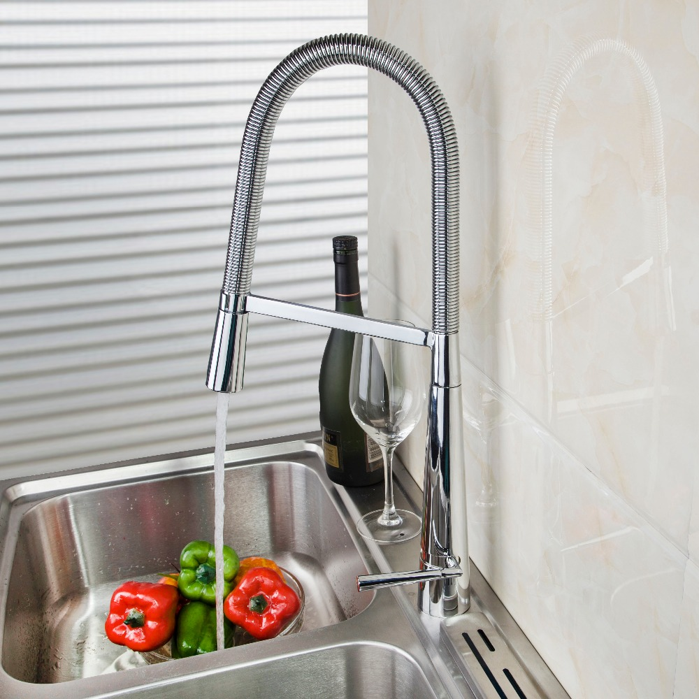 US Brass Kitchen Faucet Deck Mounted Hot&Cold Mixer Tap Pull Down Single Handle Basin Sink Faucets Chrome Swivel Faucet Tap kitchen chrome plated brass faucet single handle pull out pull down sink mixer hot and cold tap modern design