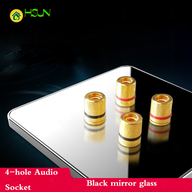 Type 86 audio socket 4 hole audio socket Four audio speaker socket terminal black mirror glass panel стойки proel ks300