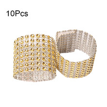 10Pcs Crystal Ribbons Party Wedding Table Decoration Party Mesh Trim Bling  Diamond Wrap Cake Napkin Ring 85ab174727f9
