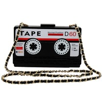 Vintage Radio Tape Bag Crossbody Bag Ladies Acrylic Shoulder Bag Box Luxury Women Handbags Wedding Party Evening Clutch Bag