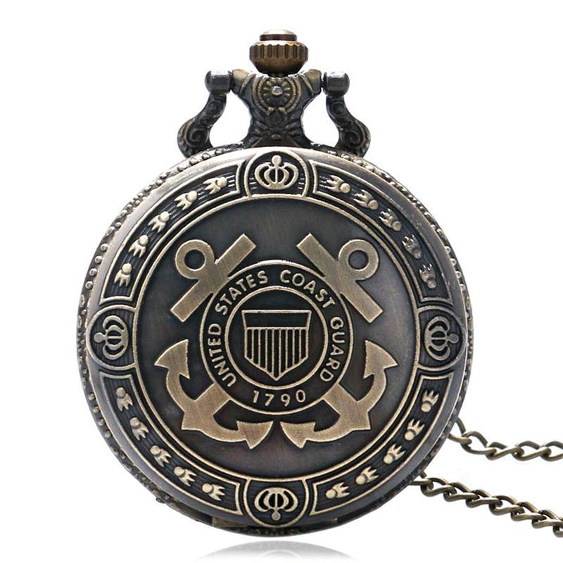 Bronze United States Coast Guard 1790 Theme Quartz Pocket Watch Souvenir Men Navy Boy Fob Watches Gift Clock With 80cm Necklace