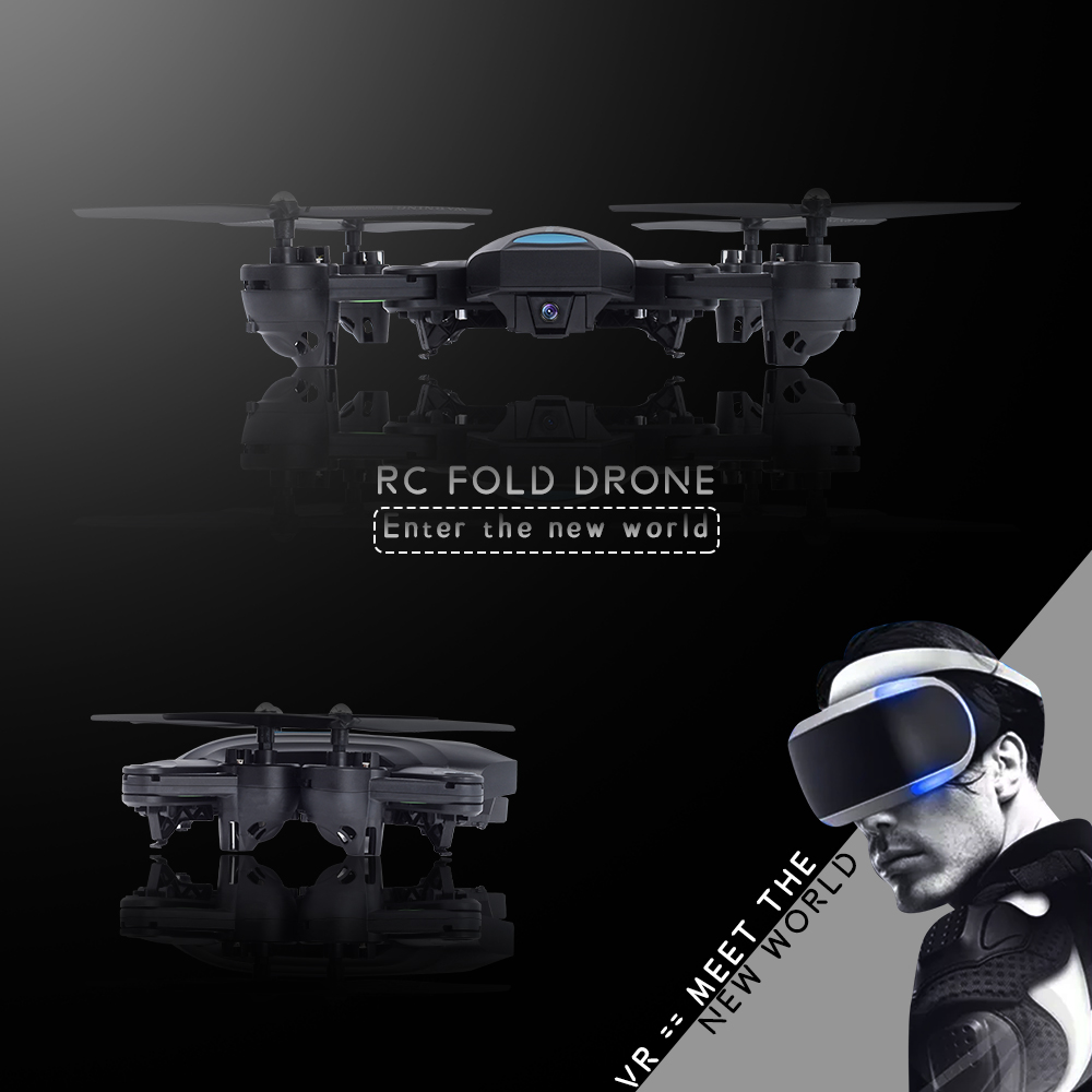 VR Glasses Mini Foldable RC Dron Visuo Selfie Drone with Wifi FPV 0.3MP or 2MP Camera Altitude Hold A6 VS JJRC H37