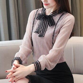 fashion beading shirt female long sleeve bow tie office lady clothing