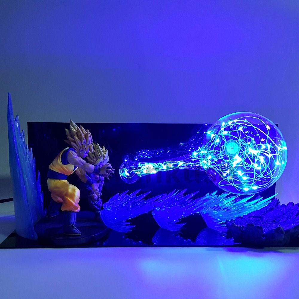 цена Dragon Ball Z Son Goku Father Son Gohan Action Figures Kamehameha Led Night Lights Anime Dragon Ball Super Saiyan Figurine Toy