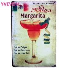 Margarita Cocktail Lounge Metal Tin Sign Vintage Pub Plaque Alcohol  Wine Board for Music Bar with PHOTO 20x30cm
