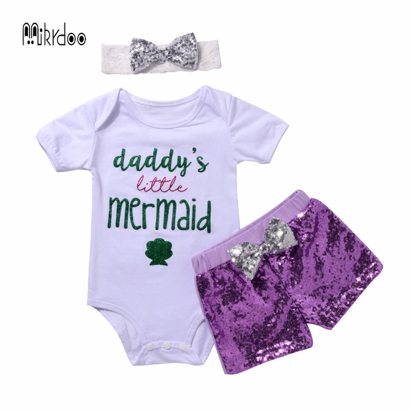 2018 Hot newborn Baby Summer Suit Daddy's Little Mermaid Funny Letters Printed Romper+Shorts Kid's Cute Clothes sport set 2016 new summer baby sport suit 100