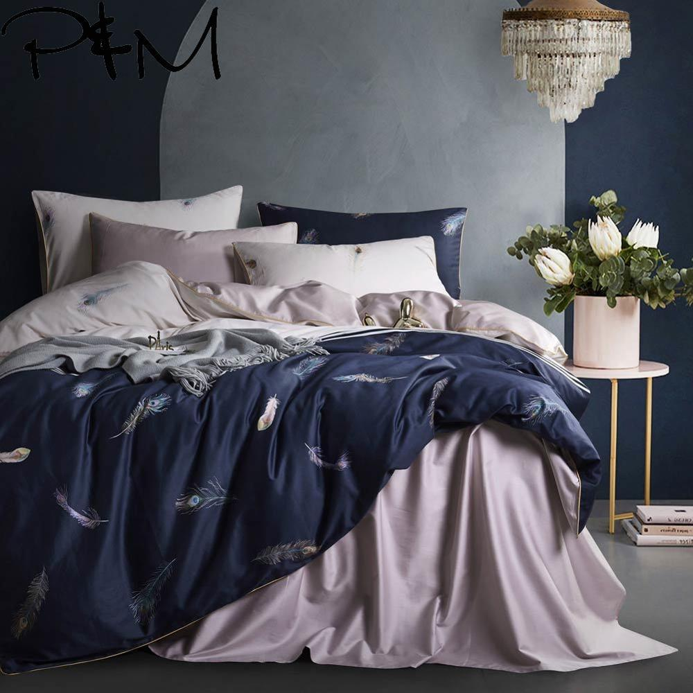 Papa&Mima Feathers print <font><b>Egyptian</b></font> <font><b>cotton</b></font> Queen King size Luxurious <font><b>bedding</b></font> <font><b>set</b></font> <font><b>duvet</b></font> cover flat sheet pillowcases image