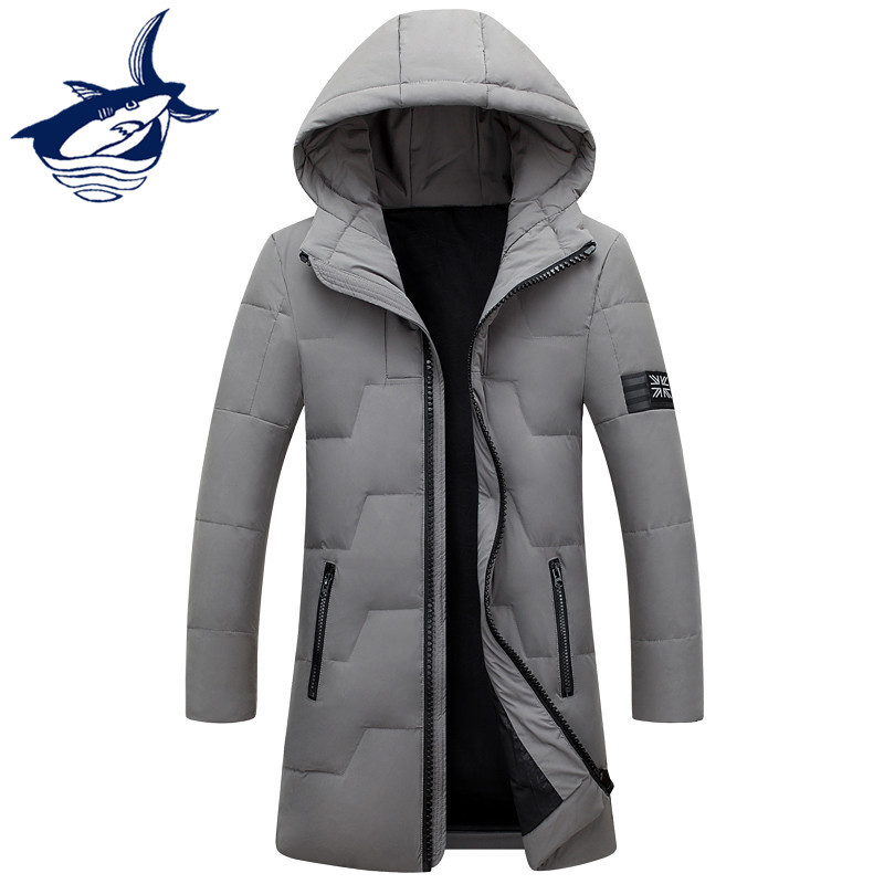 New Tace & Shark Long Down Jacket Men Thermal Windproof Hood Mens Winter Jacket White Duck Down Coat Casual Handsome Overcoat