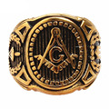 Christmas Gift Vintage 316L Stainless Steel Men Ring Gold Mason Freemasonry Masonic Male Retro Punk Black Brand Ring Jewelry