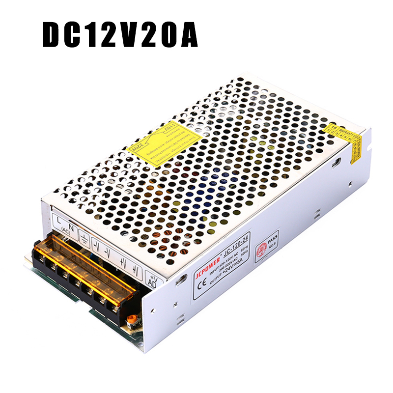 JCPOWER LED power supply Adpter Output 20A 240W DC 12V LED Power Supply transformer LED Waterproof Light Power adapter купить в Москве 2019