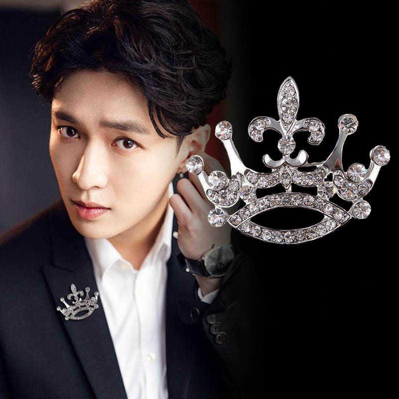Coreano di Lusso Crystal Crown Distintivo di Alta qualità Spille Spilli Vintage Fibbia Spilla Donne Degli Uomini Del Vestito Del Risvolto Spille Accessori Dei Monili