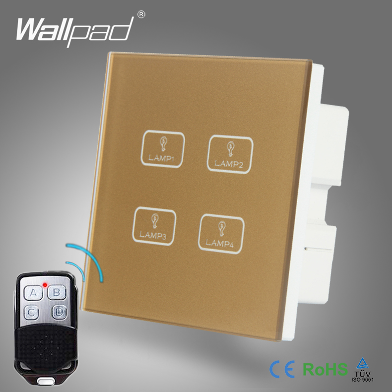 2pcs 4 Gang 2/3/4 Way WIFI Remote Wallpad Gold Tempred Glass Switch LED Wireless WIFI RF315 433 Remote Double Wall Light Switch цена