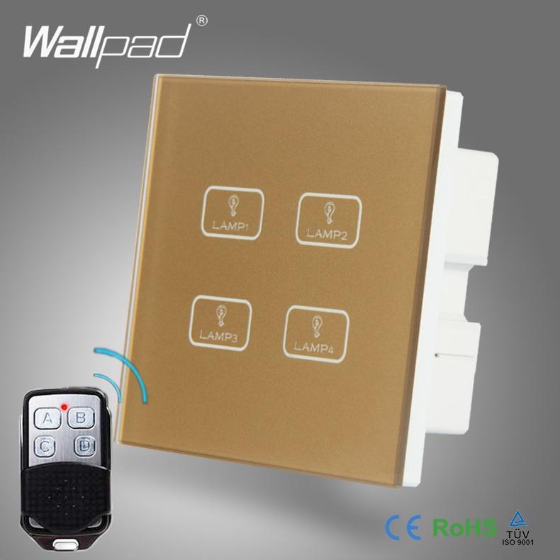 цена на 2pcs 4 Gang 2/3/4 Way WIFI Remote Wallpad Gold Tempred Glass Switch LED Wireless WIFI RF315 433 Remote Double Wall Light Switch