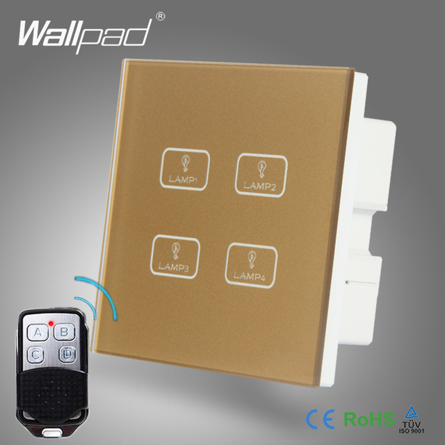 2pcs 4 Gang 234 Way WIFI Remote Wallpad Gold Tempred Glass