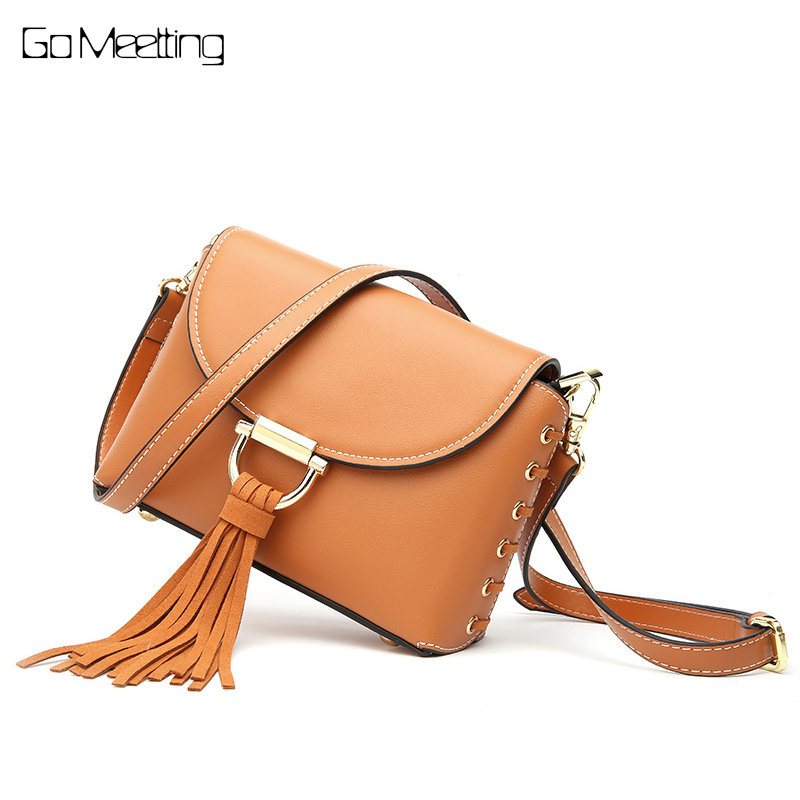 Go Meetting Women Messenger Bag Ladies Genuine Leather Tassel Handbag Shoulder Crossbody Bags Small Bag Tote Purse Bolsos Mujer 2017 new design women crossbody shoulder bag fashion pu leather handbag clutch bag ladies tote purse hobo messenger bags bolsos