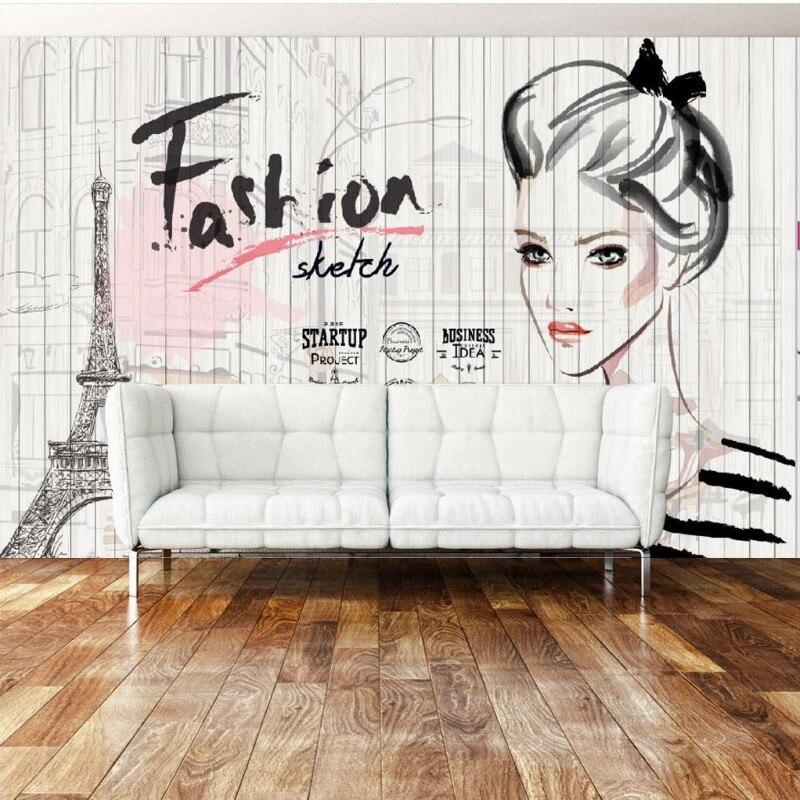 Wallpaper 3d Custom Retro Nostalgia Wooden Fashion Beauty
