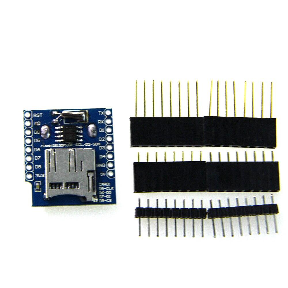 Datalog щит для D1 мини RTC DS1307 с батареей + MicroSD с пин-заголовки Набор для wems D1 мини
