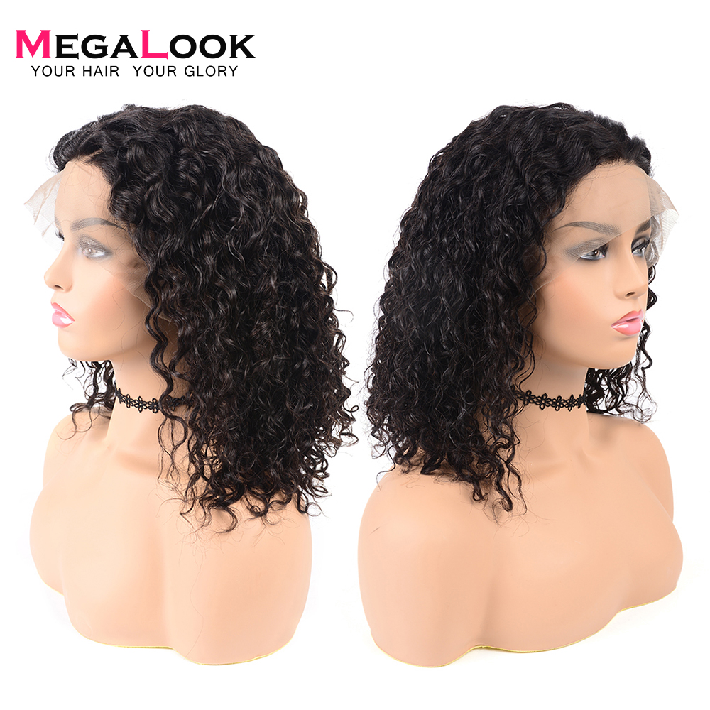 Megalook Water Wave Short Lace Frontal Human Hair Wigs Brazilian Remy Bob Hair Wig Natural Color
