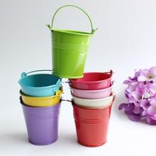 10PCS Flower Pots Iron Hanging Flower Pots Balcony Garden Pots Wall Planters Metal Bucket Flower Holders Colors bonsai