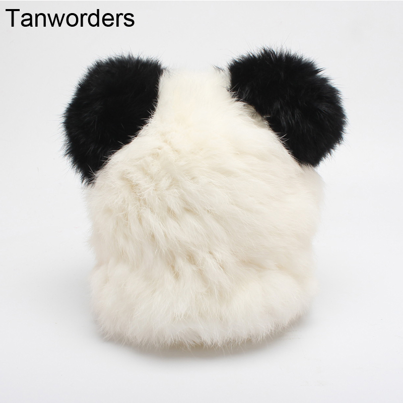 Rabbit Fur Hats For Kids Cute Panda Beanies Warm Real Fur Hat With Ears Children Autumn Winter Skullies Caps Bonnet fashion autumn and winter knitting wool hat men and women winter cap lovely hair ball beanies bone gorros accessory colorful new