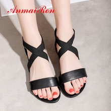 ANMAIRON 2019  New Fashion Genuine Leather Women Sandals Hot Sale Basic Casual Womens Shoes Solid Size 34-43 LY4002