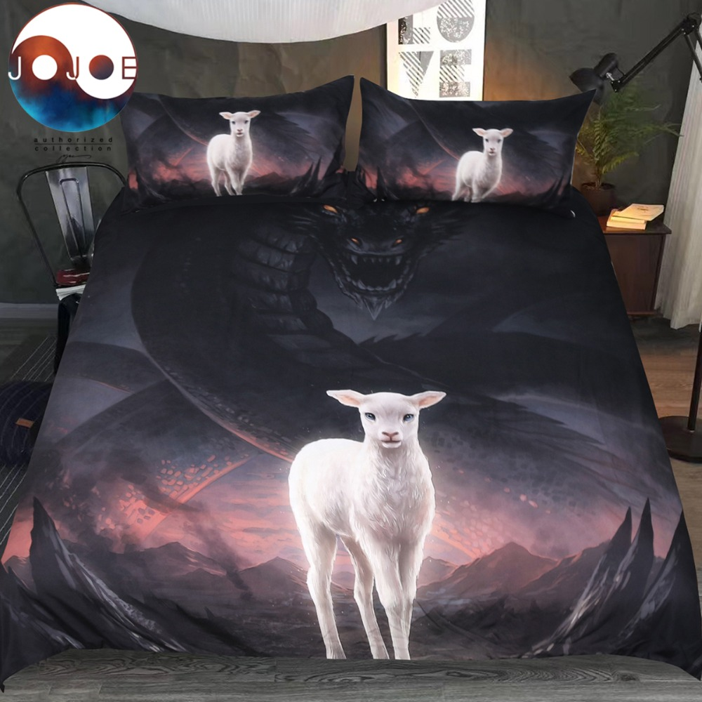 The Lamb and the Dragon by JoJoesArt Bedding Set 3D Printed Boys Quilt Cover With Pillowcases Evil Animal Bed Cover BedclothesThe Lamb and the Dragon by JoJoesArt Bedding Set 3D Printed Boys Quilt Cover With Pillowcases Evil Animal Bed Cover Bedclothes