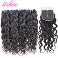 Vishine Malaysian Water Wave with Closure Malaysian Virgin Hair with Closure Human Hair Weft with Closure Water Wave Virgin Hair
