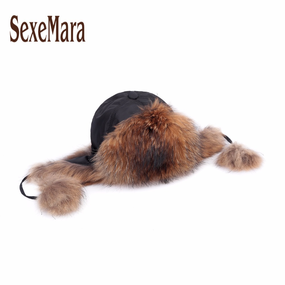 ФОТО Luxury Fox Fur Hat for Womens Earflap Winter Hats Windbreak Fur Bomber Hat for Russian Women Warm Cap