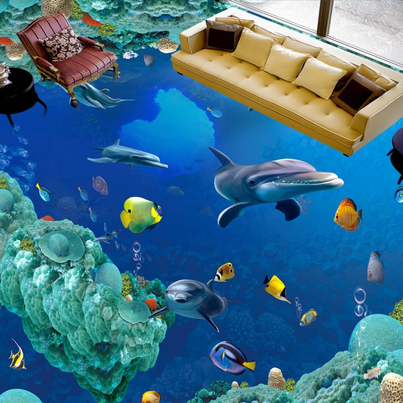 Free shipping custom Underwater World Dolphin 3D Floor bathroom floor mural anti-skidding thickened living room wallpaper