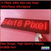 P4.75 smd красный светодиодный модуль, 4,75 мм высокая четкость, top1 для текстового дисплея, 304*76 мм, 64*16 пикселей, красный монохромный СВЕТОДИОДНЫЙ дисплей Панель