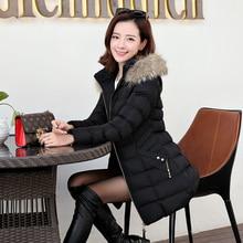 Зима большой шерсти воротник пальто длинный абзац Тонкий тепловой куртка толщиной хлопка куртки зима пуховик женщин