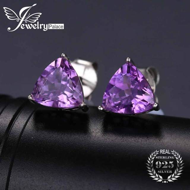JewelryPalace Trillion 1.9ct Natural Purple Amethyst Birthstone Stud Earrings Solid 925 Sterling Silver BXvKEqB