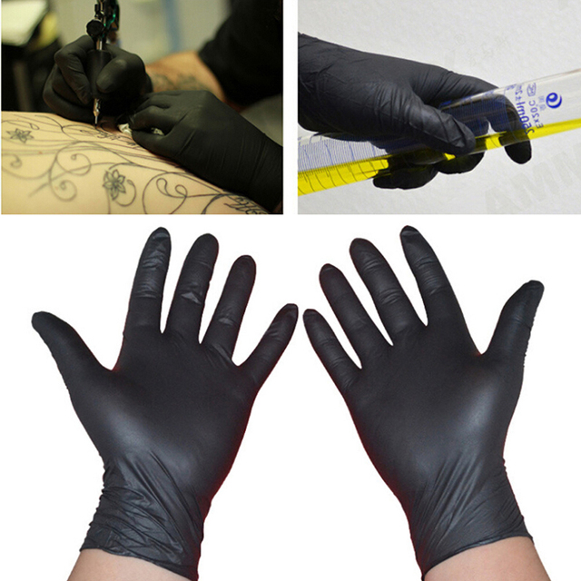 10/50Pcs Black Gloves Disposable Permanent Tattoo Gloves Tattoo Latex Gloves Tattoo Accessories S M L 1