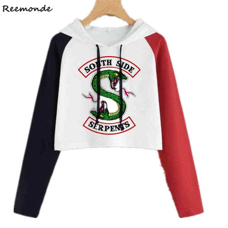 Womens Girls South Side Serpents Riverdale Hoodie Sweatshirt Jumper Crop Tops
