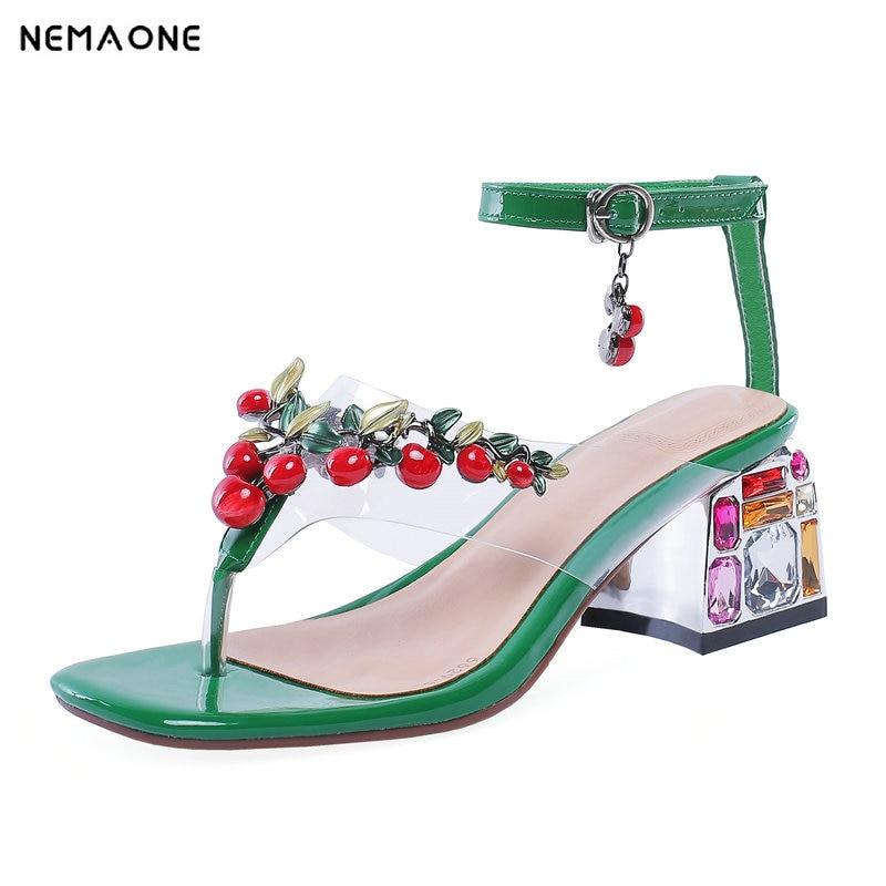 NEMAONE Fashion Elegant Women Sandals 2019 New Genuine Leather Casual Basic Rhinestone Pumps Summer Party Wedding