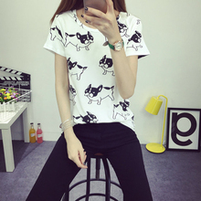 2016 women summer tops cute dog printed shirt blusa sociais femininas camisa clothings ropa tumblr chemise vetement femme blouse