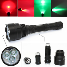 Green Red Light Tactical LED Flashlight Hunting Light Spotlight 3x XM-L Q5 1200 Lumens Ultra Bright Camping Lanterna