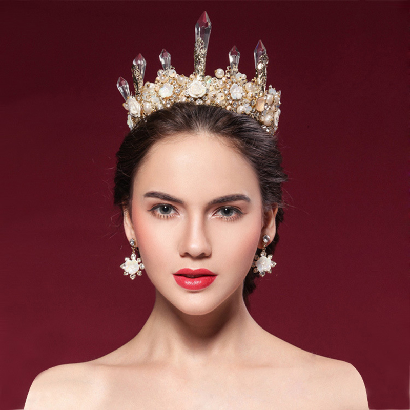 Bride Wedding Crown: Luxury Baroque Queen Crown Bridal Tiara Wedding Pearl
