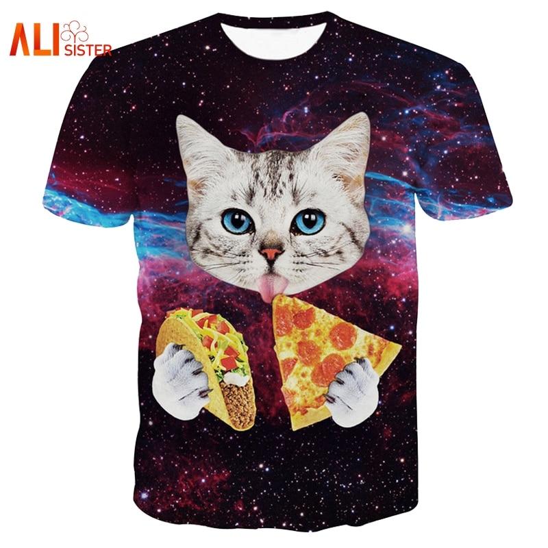 Alisister Summer Style Harajuku T Shirt Women/men 3d T Shirts Cat T-Shirt Cat Eating Tacos Pizza Shirts Galaxy Space Tee Tops ...