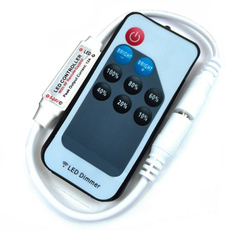 Mini Led Remote Controller DC5-24V RF Wireless Remoter 2pin For 6A Single Color Led Strip Lighting Tape Light 9 Keys