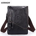 VORMOR Fashion 100% Genuine Leather Men's Shoulder Bags Alligator Pattern Men Clutch Purse Vintage Cowhide Man Messenger Bags
