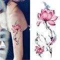 1 Hoja de Loto Acuarela Diseño DIY Brazo Impermeable Etiqueta Engomada Del Tatuaje Temporal Body Art Decal