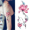 1 Sheet Waterproof Temporary Tattoo Sticker Watercolor Lotus Design DIY Arm Body Art Decal