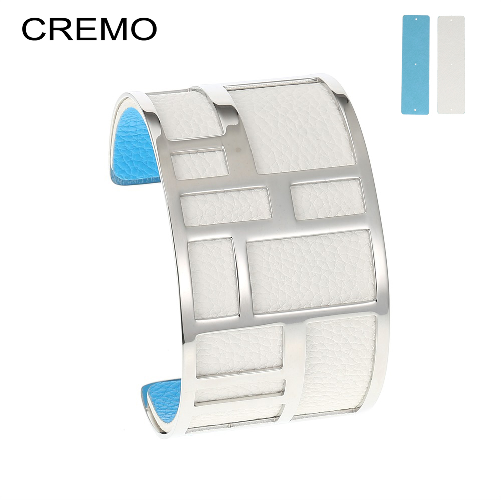 Cremo Labyrinth Bangles Stainless Steel Bracelets Femme Bijoux Manchette Reversible 40mm Wide Maze Leather Bangle Pulseiras cremo labyrinth bangles stainless steel bracelets femme bijoux manchette reversible 40mm wide maze leather bangle pulseiras