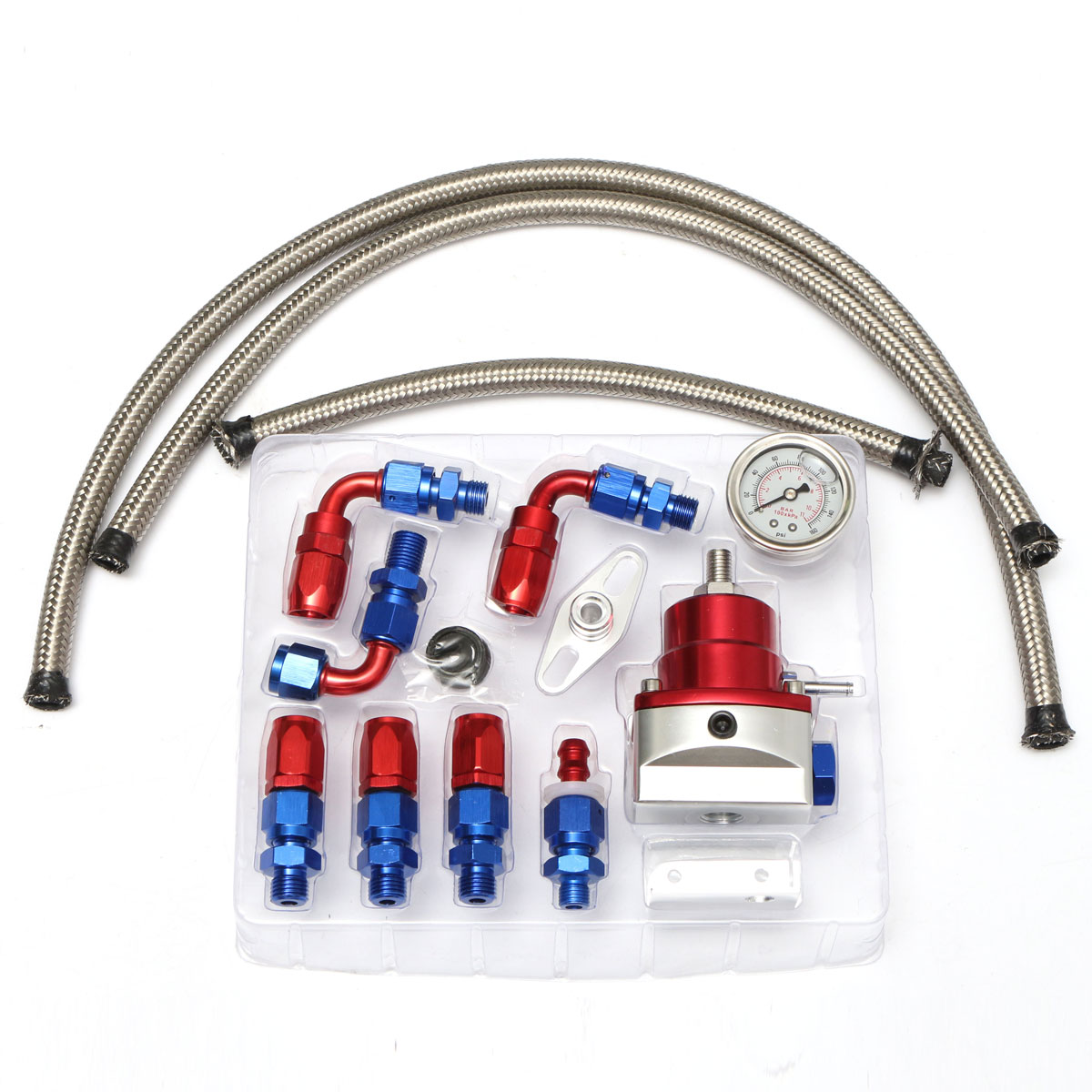 купить UniversaL Adjustable Fuel Pressure Regulator Kit 160PSI Oil Gauge Hose Fitting Kit -6AN Size по цене 3660.31 рублей
