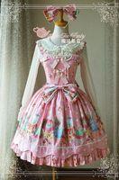 Gothic Lolita Dress Green/Pink JSK Sweet Bear Pattern Sleeveless Dresses Girls Sweety Gifts