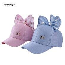 SUOGRY Children Baseball Cap Baby Summer Hat Rabbit Ear Pearl Big Bow Kids Sun Hats Girls Snapback Hip Hop Caps