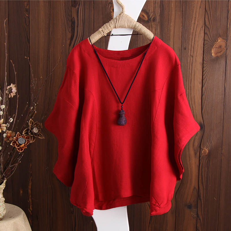 SCHMICKER 2018 Plus Size Short Batwing Sleeve Party Blouse Summer Women Casual Solid O Neck Cotton Linen Baggy Basic Tee-Shirts 3